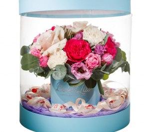 Букет «Цветочный аквариум» в прозрачной коробке