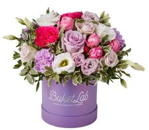 Композиция «Цветочный Шар» в шляпной коробке