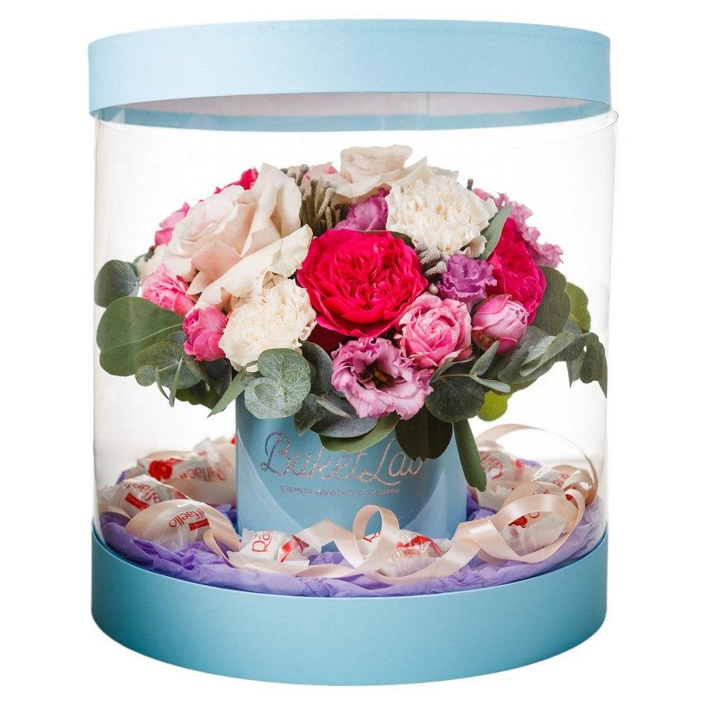 Букет «Цветочный аквариум» в прозрачной коробке 1