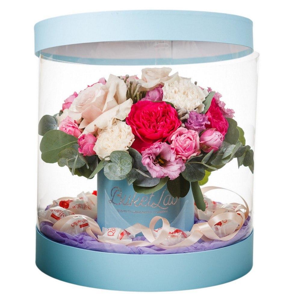 Букет «Цветочный аквариум» в прозрачной коробке 5