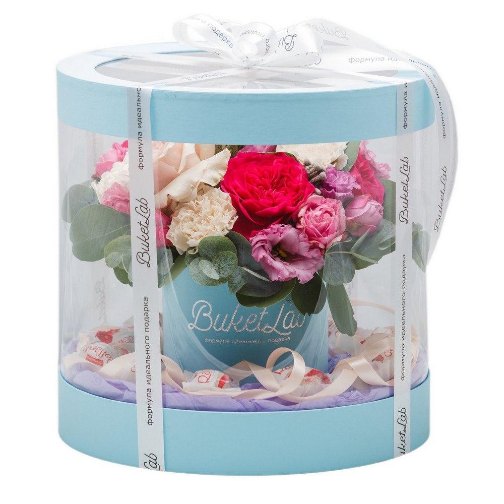 Букет «Цветочный аквариум» в прозрачной коробке 3