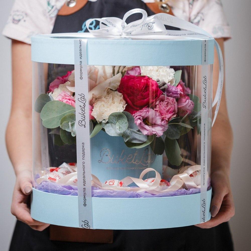 Букет «Цветочный аквариум» в прозрачной коробке 6