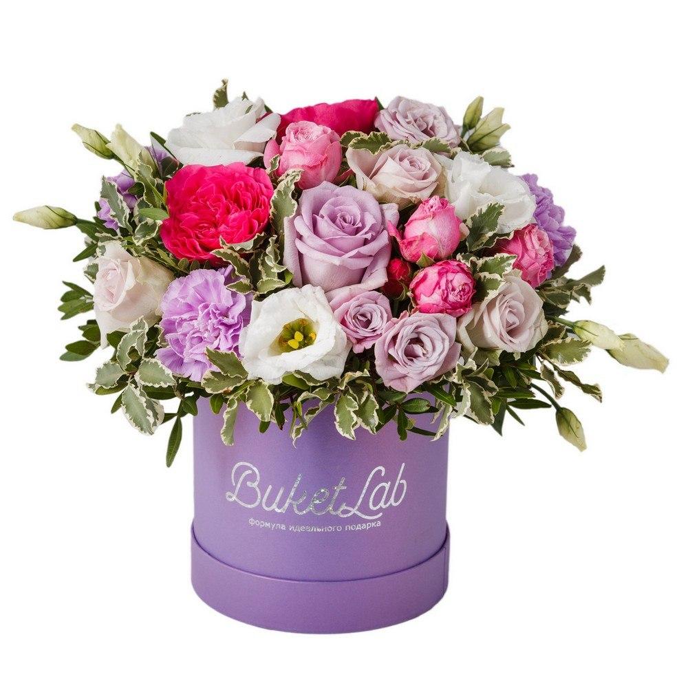 Композиция «Цветочный Шар» в шляпной коробке 1